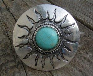 Western Sun Turquoise Bracelet Hinge Chunky Natural Stone Art Silver Bangle Cuff