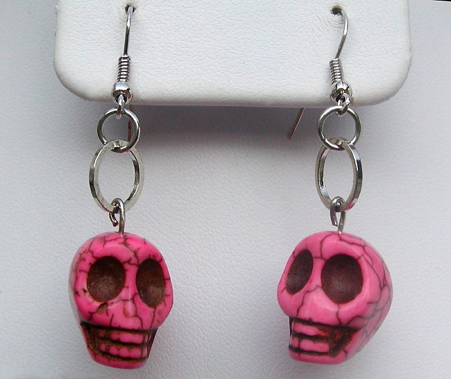 Howlite Skull Earrings PINK Turquoise Silver Dangle Charms Handcrafted