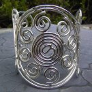 Wire Wrap Statement Bracelet Silver Bangle Cuff Wrist Band Art Artistic Swirl Circle Design