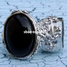 Arty Oval Black Ring Armor Silver Knuckle Statement Moon Cocktail Art Cage Deco Chunky Size 6
