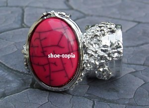 Arty Oval Pink Ring Armor Silver Knuckle Coral Two Finger Statement Cage Deco Style Avant Art Size 8