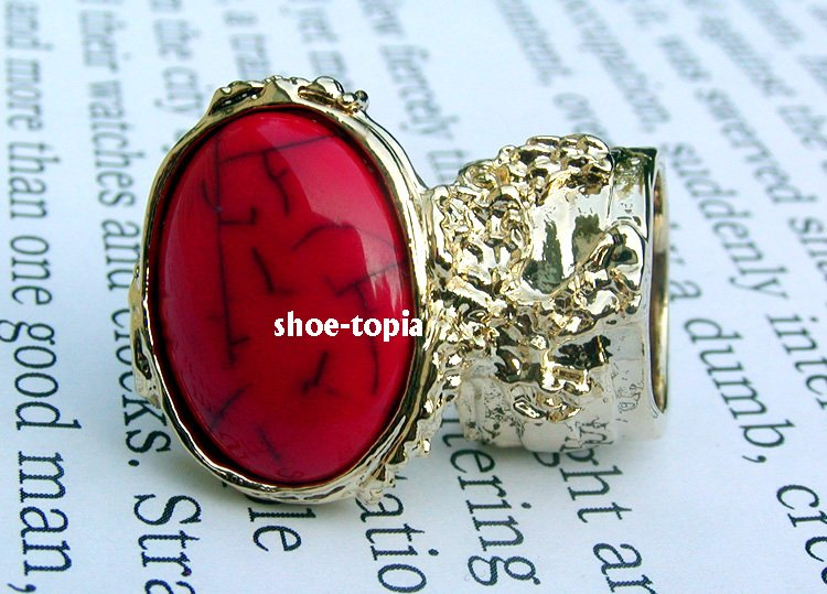 Arty Oval Red Gold Ring Knuckle Armor Cabochon Chunky Art Statement Cage Deco Style Size 8