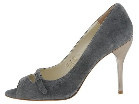 Type Z Womans Size 9.5 Shoes Pumps Roxie Dress Dressy Heels Grey Suede Leather Open Toe NIB