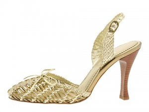 HYPE Womans Size 8 Sandal Shoes Gold Bronze Sandals Sling Back Dress Heels Dressy Pumps NIB