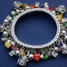 Prayer Box Bracelet Charm Semiprecious Stones Silver Beads Religious Religion Christian Watch Band