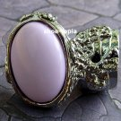 Arty Oval Pink Ring Silver Knuckle Art Armor Finger Statement Cage Deco Art Style Avant Garde Size 8