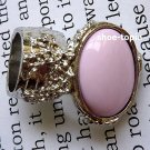 Arty Oval Pink Ring Silver Knuckle Chunky Finger Art Armor Statement Cage Deco Style Size 6