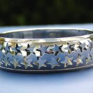 Star Bracelet Cuff Arm Band Silver Statement Celestial Art Bangle