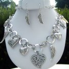 Heart and Wing Necklace and Earrings Set Feathers Silver Charm Ivory Horn Circle Chain