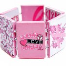 Breast Cancer Bracelet Pink Ribbon Silver Awareness Art