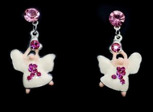 Breast Cancer Angel Earrings Pink Ribbon Awareness Heart Charm Crystal