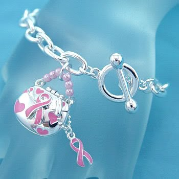 Breast Cancer Purse Bracelet Pink Silver Toggle Charm Bead Chain Awareness