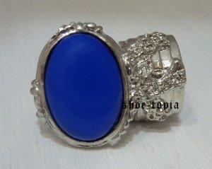 Arty Oval Ring Lapis Blue Silver Knuckle Armor Cocktail Statement Art Cage Deco Size 8