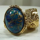 Arty Ring Blue Drizzle Gold Chunky Armor Oval Art Knuckle Statement Cage Deco Cocktail Size 10