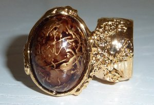 Arty Ring Cocoa Brown Drizzle Gold Chunky Armor Oval Art Knuckle Statement Cage Deco Cocktail SZ 10