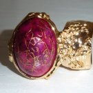 Arty Ring Hot Pink Drizzle Gold Chunky Armor Oval Art Knuckle Statement Cage Deco Cocktail Size 6