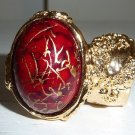 Arty Ring Red Drizzle Gold Chunky Armor Oval Art Knuckle Statement Cage Deco Cocktail Size 6