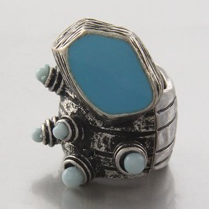 Arty Dots Ring Turquoise Antique Silver Chunky Armor Knuckle Stretch Art Statement Cage Avant Garde