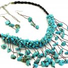 Turquoise Chips Necklace and Earrings Set Stone Cord