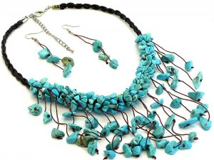 Turquoise Blue Chips Necklace and Earrings Set Stone Cord
