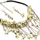 Natural Chips Necklace and Earrings Set Stone Cord
