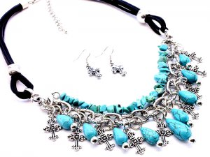 Crosses and Turquoise Chips Necklace and Earrings Set Stones Charms