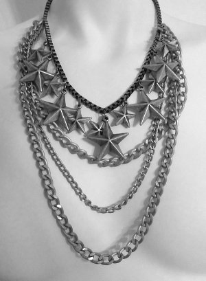 Star Charms Multi-Chain Long Necklace and Earrings Set Antique Silver Draping Layered Chains