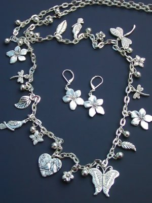 Dragonfly Butterfly Necklace Set Beads Chain Silver Heart Leaf Flowers Bird Charms