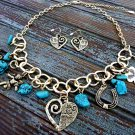 Western Style Necklace and Earrings Set Elephant Heart Angel Charm Gold Chain Turquoise Stones