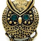Owl Ring Bird Charm Antique Style Brass Green Beads Beaded Design Stretch 6/7