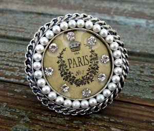 Paris No 7 Ring Crystals Crown Floral Design Antique Silver Faux Pearl Beads Stretch 7/8
