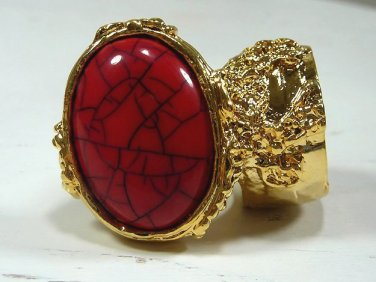 Arty Ring Red Gold Black Chunky Armor Oval Knuckle Art Statement Cage Deco Cocktail Size 10