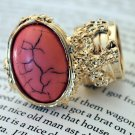 Arty Ring Pink Coral Gold Black Chunky Armor Oval Art Knuckle Statement Cage Deco Size 6