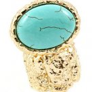 Arty Oval Ring Turquoise Howlite Stone Armor Shiny Gold Knuckle Art Statement Stretch 7 - 8.5