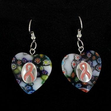 Murano Glass Heart Breast Cancer Awareness Pink Ribbon Earrings Silver Dangle