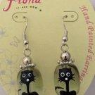 Hand Painted Glass Kitty Cat Earrings Feline Black White Paint Silver Dangle