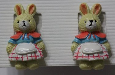 Adorable Bunny Rabbit Earrings Pink Blue White Dress Outfit