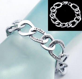 Inspirational Bracelet Recovery Harmony Balance Energy Oval Circle Silver Burnished