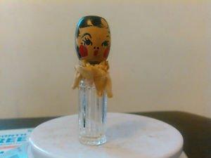 Vintage KAROFF FLORAL QUINTUPLET Wood Head Perfume Bottles