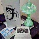"""Fenton Glass 10 1/2"""" Light Green Vase White Flowers Signed M Caplinger artist"""