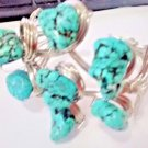 CLUNKY TURQUOISE CUFF BRACELET 7 ROUGH TURQUOISE STONES-TWISTED WIRE