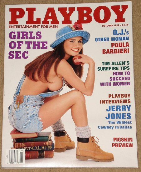 Playboy Magazine - October 1994 Paula Barbieri, Girls of the SEC, Tim Allen, Jerry Jones,