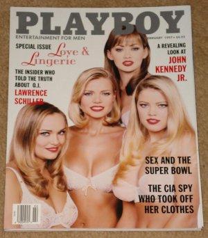 Playboy Magazine - February 1997 love & lingerie, John Kennedy Jr, Lawrence Schiller, Super Bowl