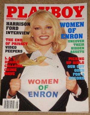 Playboy Magazine - August 2002 Women of ENRON, Harrison Ford, callgirls, Amanda Peet
