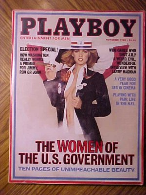 Playboy Magazine - November 1980 Election special, women of government, sex in cinema,  NFL