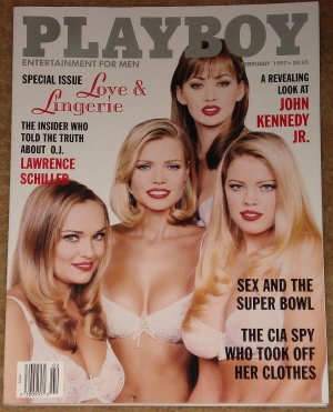 Playboy Magazine - February 1997 (B) lingerie, John Kennedy Jr., Lawrence Schiller, Super Bowl sex