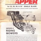 Snapper Mower Operators Manual & Set-up Instructions for Series 6 Riding Mowers 1986-87