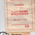 operating Instructions Powehouse 3/8 Drill Model 206
