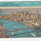 Vintage New York postcard lower Manhattan Brooklyn bridge
