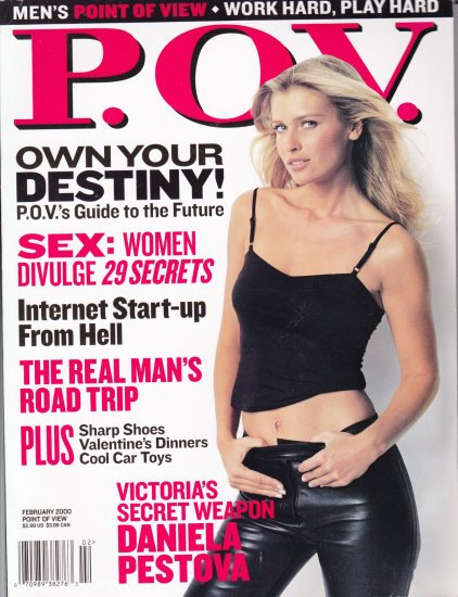 P.O.V Mens Point Of View Magazine Daniela Pestova cover Feb 2000